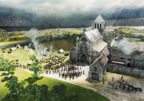 Historic artwork derived from the Footprints 3D model; the funeral of John Paston enters the church.