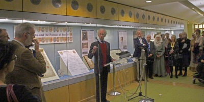 Sir Henry Paston-Bedingfeld at the opening of the exhibition
