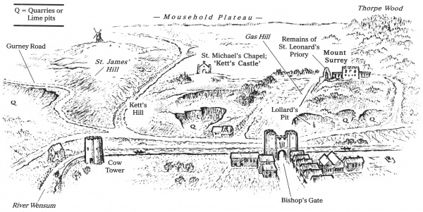 Kett's Command Points by Leo Jary,  after Dr William Cunningham's Prospect of 1558.