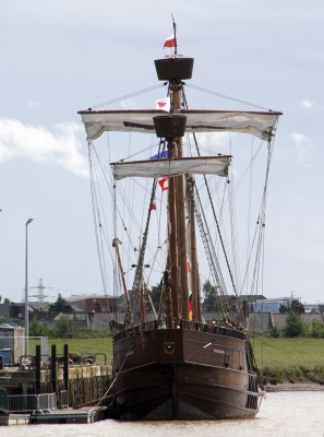 The replica 15th century caravel 'Lisa von Lubec' lies alongside at King's Lynn - perhaps the 'Marè Talbot' looked similar