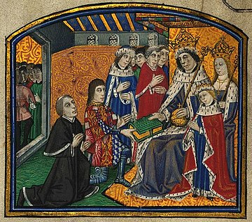 William Caxton and Anthony Woodville present their book to King Edward.